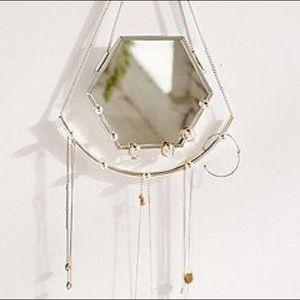 UrbanOutfitters Hexagon Jewelry Hanger Wall Mirror